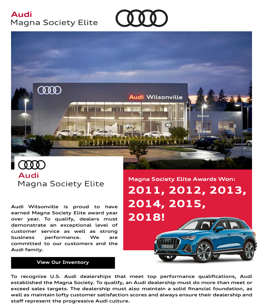 Portland Audi Awards Excellent Customer Service